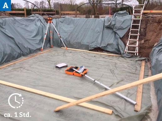 Nivellierung der Betonbodenplatte auf Ebenheit