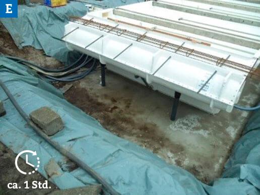 Auflegen der Eisenarmierung auf der Roldecknische des Beckens